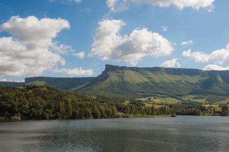 Maroño reservoir view. Sierra Salvada mountain range panoramic view