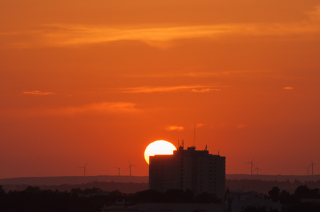 Sunset at Portimao, Algarve, Portugal. Skyline