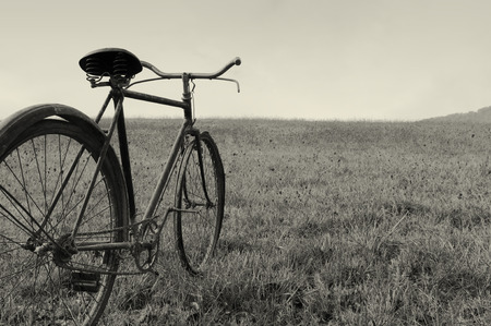 Antique or retro bicycle outside Stock Photo