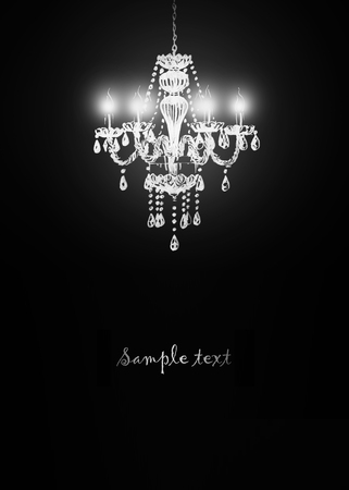 chandelier background: Crystal chandelier on black background. Hand-painted illustration