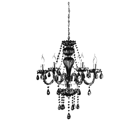Black crystal chandelier. Hand-painted ink illustration Stock Photo