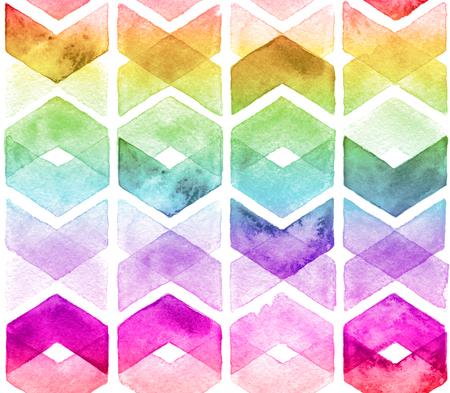 Watercolor chevron rainbow colors. Seamless pattern for fabric Stock Photo