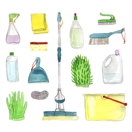 Set of cleanings tools on white background. Hand-painted watercolor illustration Banco de Imagens