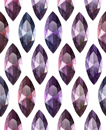 marquise: Amethyst marquise cut gemstones on white background.  Watercolor seamless  pattern of