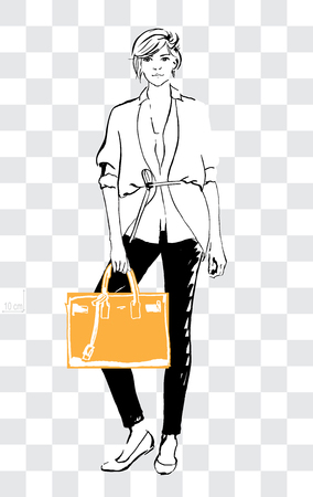 Sketch women could show off real size of the handbag, tote bag or city bag. Hand drawn vector illustration.
