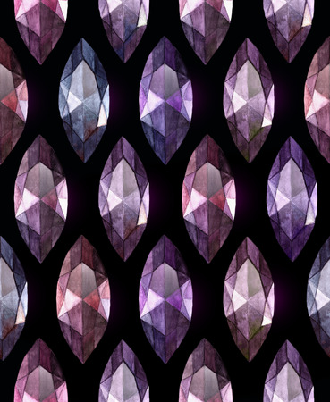 amethyst: Marquise cut amethyst.  Watercolor seamless  pattern of gemstones on black background Stock Photo