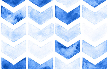 watercolor paper: Blue chevron with white background. Watercolor seamless pattern for fabric