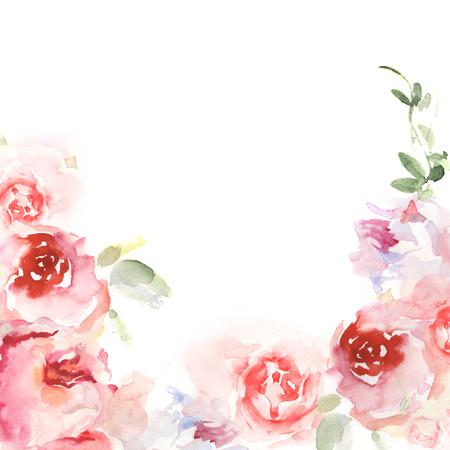 Scheda di invito con fiori di acquerello. Cartoline d'auguri dipinte a mano in stile floreale Archivio Fotografico - 55422451