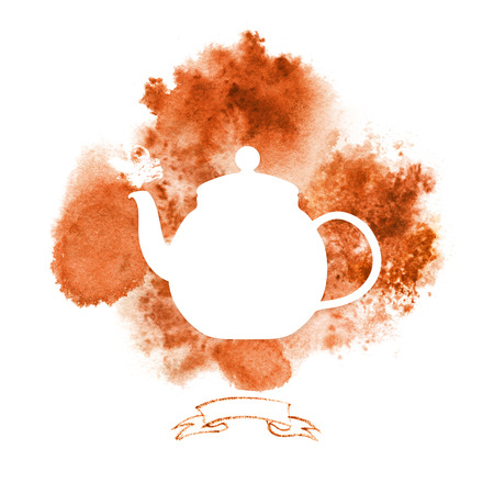 rooibos: Template with silhouette teapot on background with red tea stains. Hand-painted card