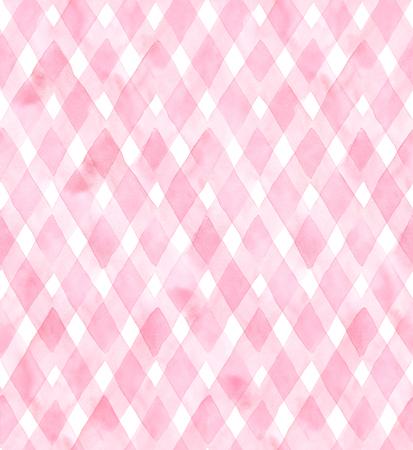 Diagonaal gingang van roze kleuren op een witte achtergrond. Waterverf het naadloze patroon voor stof.