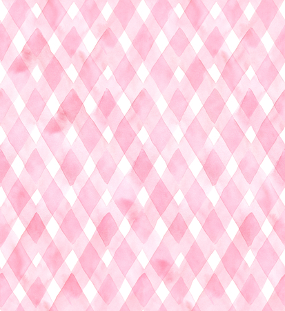 Diagonal gingham of pink colors on white background. Watercolor seamless pattern for fabric.