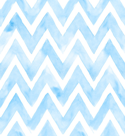 Chevron of blue color on white background. Watercolor seamless pattern for fabric. Banco de Imagens