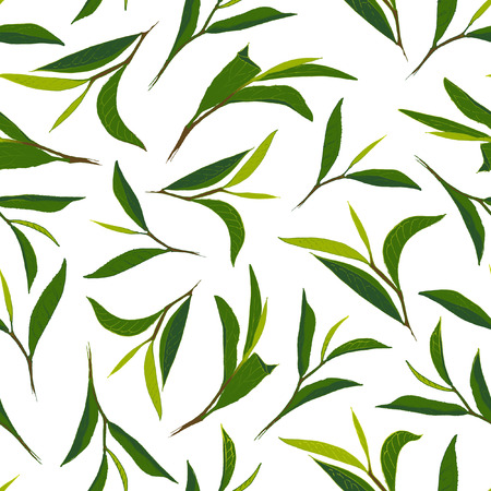 Pure tea. Botanical style seamless pattern