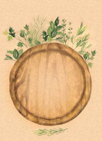 wood craft: Round wood cutting board and fresh herbs on craft paper. Watercolor hand-painted  illustration. Stock Photo