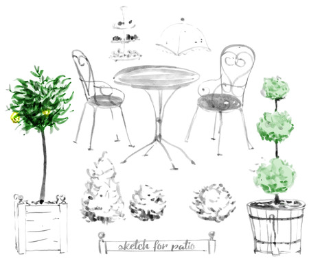 patio furniture: Set of garden furniture for patio. Hand-painted illustration