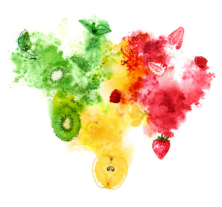 Red, yellow and green fruits and berries with juicy splash on white background. Hand-painted watercolor illustration.