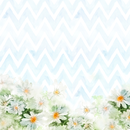 chevron background: Chamomile bouquet on blue chevron background. Hand-painted watercolor illustration for greeting cards. Stock Photo