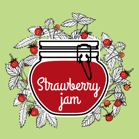 fragaria: Strawberry jam with a jar and fragaria berries on a green background. Vector illustration.