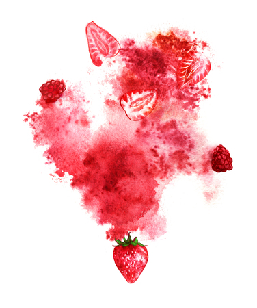 Juicy berries and red splash on white background. Hand-painted watercolor illustration. Reklamní fotografie