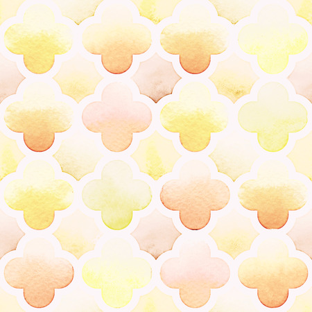 creme: Morrocan quatrefoil ornament of yellow colors on white background. Watercolor seamless pattern.