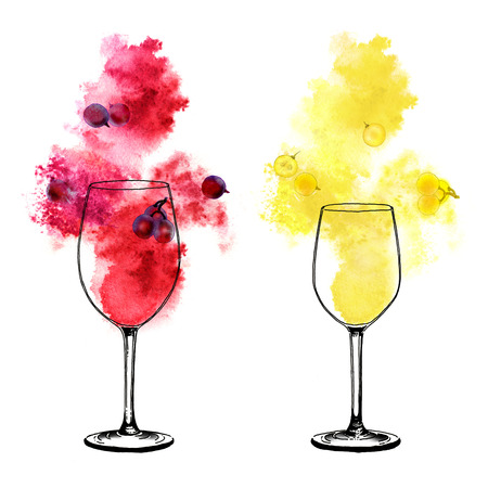 White and red wine splashes and winy glasses on white background. Hand-painted watercolor illustration.