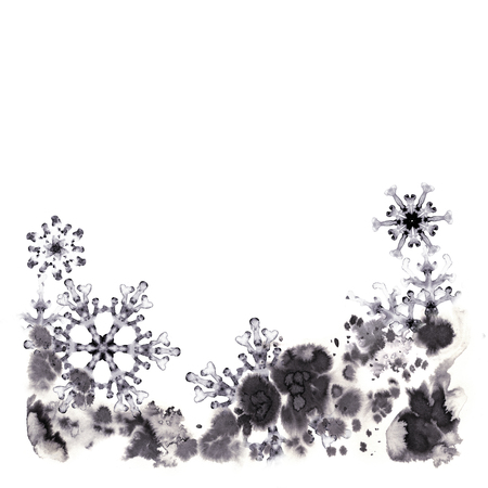 Greeting cards with watercolor snowflakes and frosty pattern. Hand-painted illustration for Happy New Year and Merry Christmas congratulations