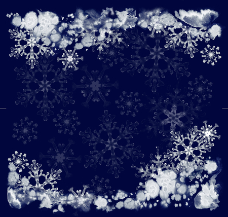 Greeting cards with ink snowflakes and frosty pattern on the dark blue background. Hand-painted illustration for Happy New Year and Merry Christmas