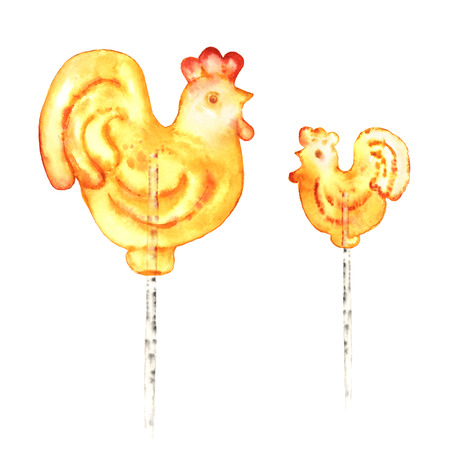 Red yellow cock lollipops on white background. Hand-painted illustration for Oriental New Year.