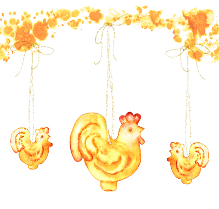 Red yellow glass cock ornaments on white background. Hand-painted seamless pattern for Chinese New Year