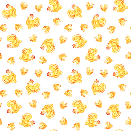 Red yellow watercolor cockes on white background. Hand-painted seamless pattern for Chinese New Year.