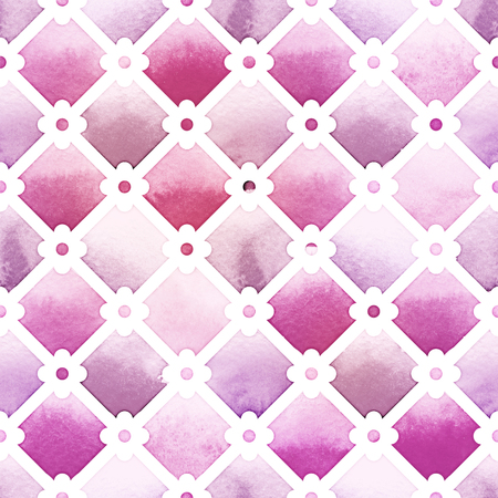 Wilton trellis pattern with quatrefoil of purple colors on white background. Watercolor seamless pattern.