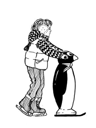 Sketch of child with a penguinon to hold on to a ice rink. Hand drawn illustration. Stock Photo