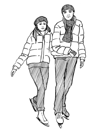 Sketch of young couple on a ice rink. Hand drawn illustration