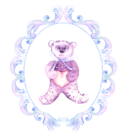 Watercolor Teddy Bear For A Boy Hand Painted Birthday Card Stock