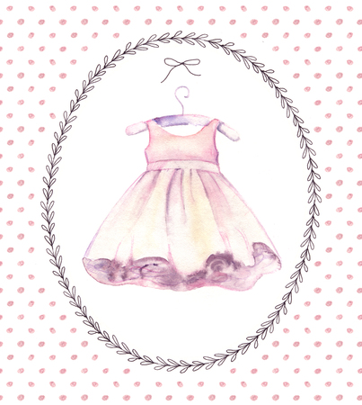 Watercolor Pink Dress For Little Girl Hand Painted Birthday Stock