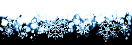 Winter frost with blue snowflakes on black and white background. Hand-painted seamless horizontal border for Happy New Year and Merry Christmas Zdjęcie Seryjne