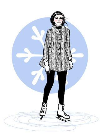 Sketch of stylish young woman on a skating rink. Hand drawn vector illustration