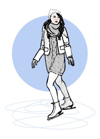 skating rink: Sketch of young woman on a skating rink in casual style. Hand drawn vector illustration