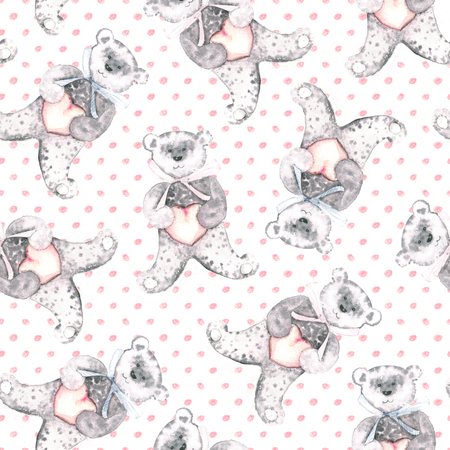 Watercolor teddy bears on a dotted pink background. Hand-painted seamless pattern for baby fabric.