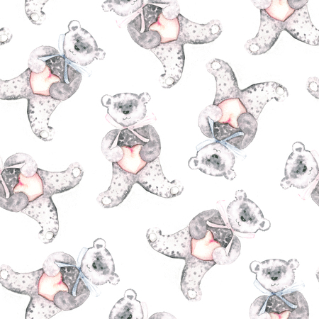 grizzle: Watercolor teddy bear. Hand-painted seamless pattern for baby fabric. Stock Photo