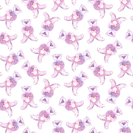 baby bear: Watercolor teddy bear. Hand-painted seamless pattern for baby fabric. Stock Photo