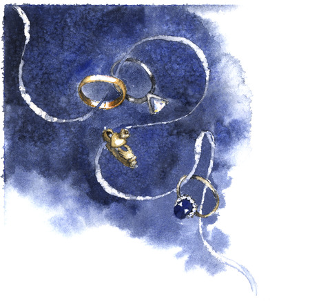 duh: Wedding rings on a whote ribbon with navy blue watercolor background. Hand-painted watercolor illustration