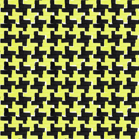 Flat marker pen ornament of black and yellow colors. Hand-painted seamless pattern.