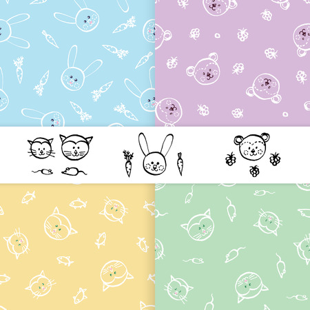 Seamless patterns for little boy and girl. Set of hand drawn vector.