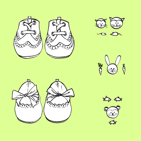 Baby shoes for little boy and girl. Hand drawn vector set for shower card. Ilustracja
