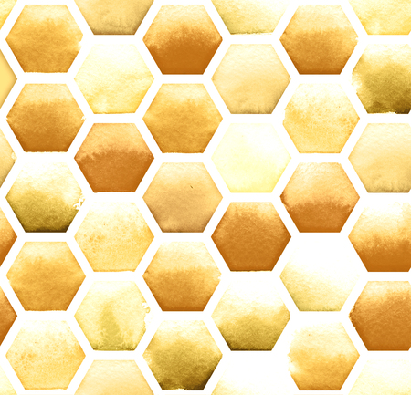 Honey bee honeycomb pattern on white background. Watercolor seamless pattern. Zdjęcie Seryjne