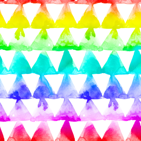 Geaometric ornament of rainbow colors triangles on white background. Watercolor seamless pattern.
