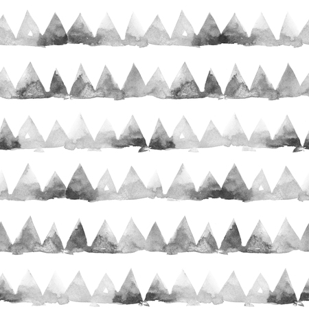 Rows of ink painting triangles on white background. Watercolor seamless pattern.