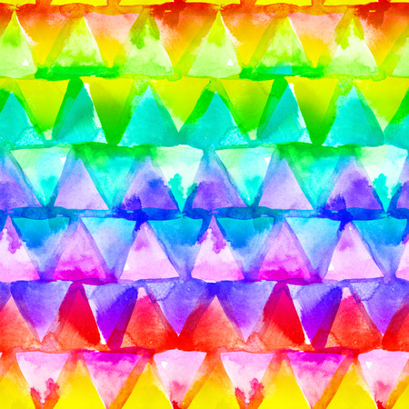 Geometric ornament of rainbow colors triangles on white background. Watercolor seamless pattern. Zdjęcie Seryjne