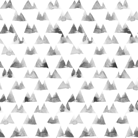 Geometric ornament of ink painting triangles on white background. Watercolor seamless pattern. Zdjęcie Seryjne